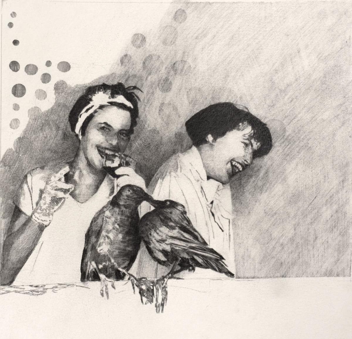 The birds-crayon graphite- 23 x24cm- 2018